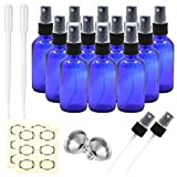 Pack of 6, 2 oz Cobalt Blue Glass Bottles with Black Fine Mist Sprayers by Mavogel, Including 2...
