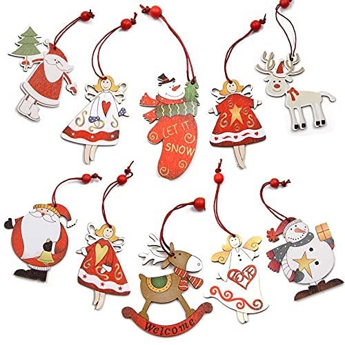 JIUHE 5pcs/Lot Multi Styles Impreso Navidad Colgante de Madera Adornos Árbol de Navidad Ornamentos Bricolaje Niños Juguetes Madera Artesanía Regalos Colgantes (Color : 5pcs-Type J)