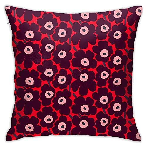 Xutazu Marimekko Unikko Pillow Cases Double Sided Printing Bolster Square Pillow Cases Hidden Zipper 18x18inch