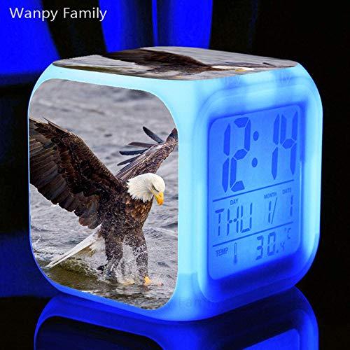 Zhuhuimin wekker Raptor Eagle LED 7 kleuren kleurverandering digitale wekker lichtklok voor kinderen geschenk elektronische multifunctioneel horloge