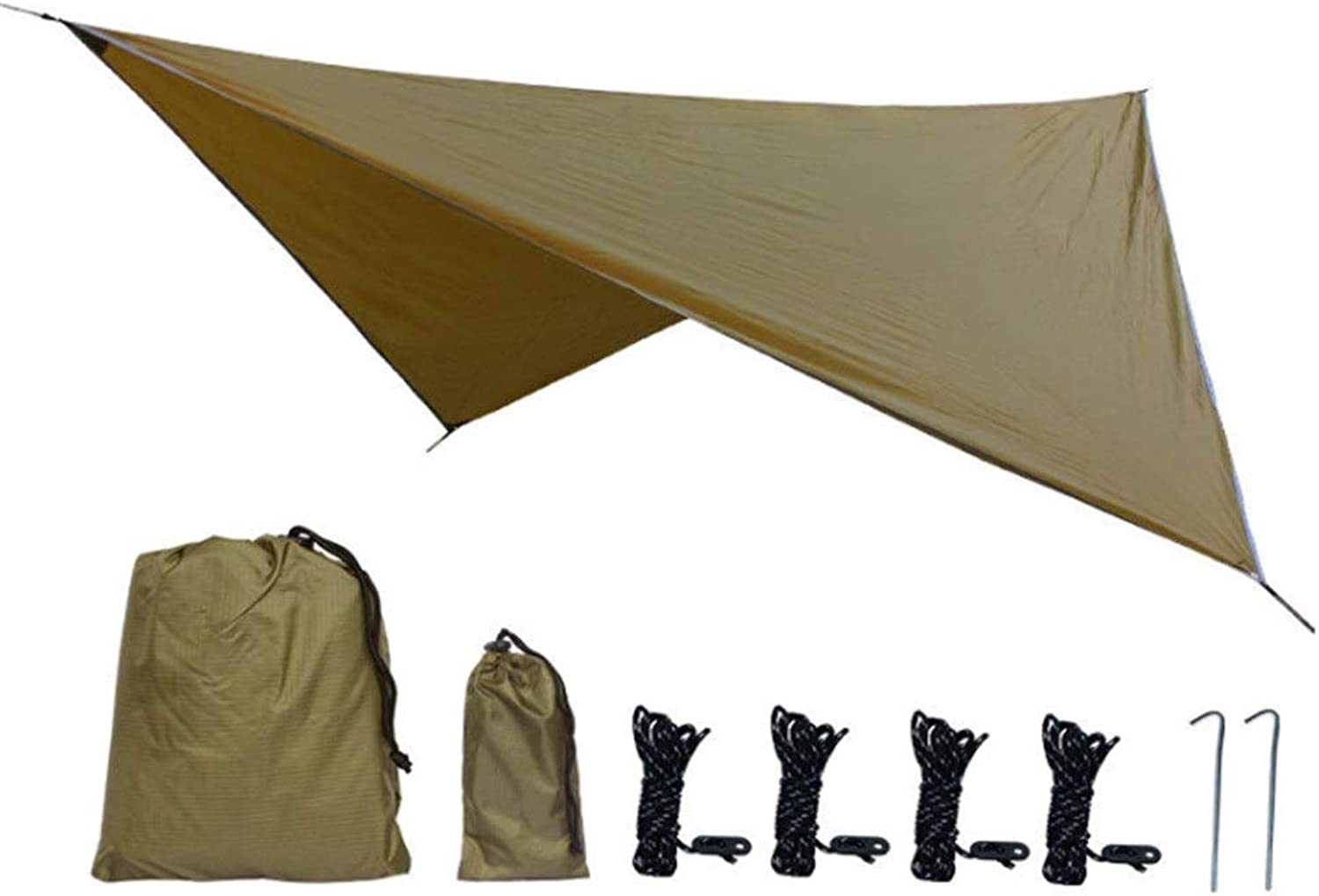 Feet Waterproof Hammock Rain Fly Tent Sunshade Tarp Shelter with Stakes Ropes Survival Gear Kit for Camping Backpacking Fishing Beach Picnic 11.8x9.5,Outdoor (color   Camel, Size   Free Size)