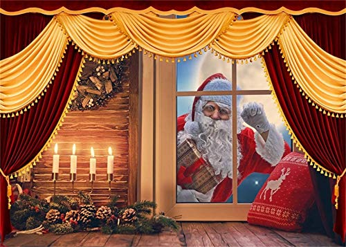 Christmas Eve Window Santa Claus Red Curtain Red Elk Pillow Burning Candle Moon New Year DIY 5D Diamond Painting Kits Painting Full Drill Painting Arts Craft Canvas 12X16 Inch