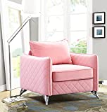 Altrobene Mid Century Accent Arm Chair, Living Room Bedroom Home Office Reception Chair, Velvet Upholstery, Silver Tone Metal Legs, Pink