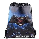 Batman Vs Superman Dawn Justice Authentic Licensed Drawstring Bag Backpack (Black)
