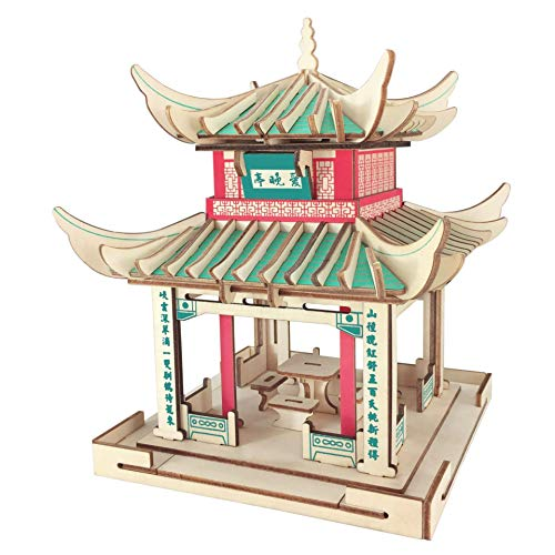 Doinbtoy Cartoon 3D Dreidimensionales Holzpuzzle DIY Assembled Puzzle Puzzle Toy Chinese Pavilion