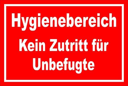 Melis Folienwerkstatt Schild Hygienebereich - 30x20cm - Bohrlöcher - 3mm Hartschaum – 20 VAR S00225-005-D
