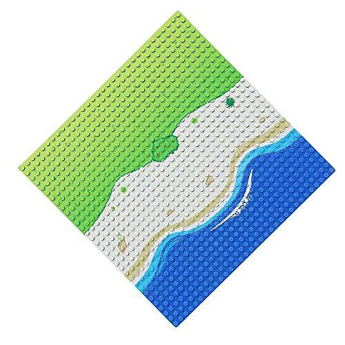 Feleph Classic Platte Gerade Blaue Bauplatte, Meeresthema Bauplatten für Jede Sammlung, Groß Grundplatte 32 x 32 mit Strand, Kompatibel mit Allen Marken