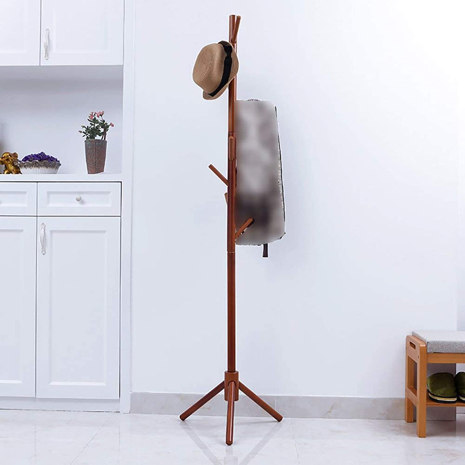 Shiyanghang Simple Modern Floor-Standing Wooden Coat Rack 46×176cm Economy Single-bar Bedroom Foyer Entrance Hanger (color   Brown)