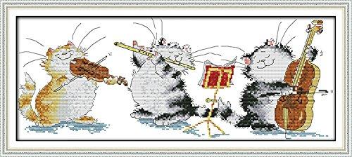 Joy Sunday Kits de couture à la main bricolage au point de croix 11CT estampé pour les débutants Kit de broderie pré-imprimé motif-Concert