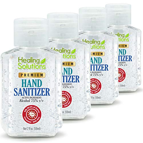 Hand Sanitizer Gel (4 Pack - Mini 2 oz Bottle) - 75% Alcohol - Kills 99.99% of Germs - Small 2oz Travel Size Individual Personal Pocket 2 Ounce Bottles