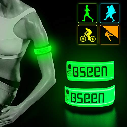 BSEEN LED Armband 2 Pack LED Slap Bracelets, Adjustable Strap Safety Light Armbands Glow in The Dark Night Running Gear for Jogging, Walking, Cycling, Camping Outdoor Sports (Green)