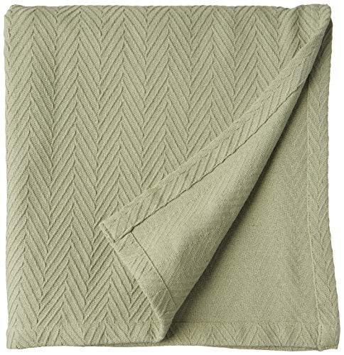 SUPERIOR 100% Cotton Thermal Blanket, Soft and Breathable Cotton for All Seasons, Bed Blanket and Oversized Throw Blanket with Metro Herringbone Weave Pattern - Full/Queen Size, Sage