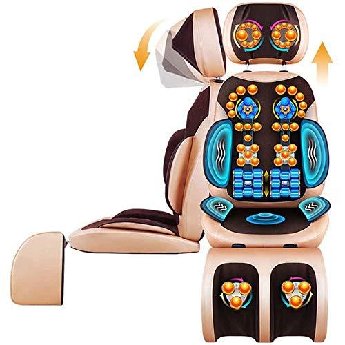 ZHANGYY Masajeador Shiatsu para El Cuello Y La Espalda para Silla, Estera Masajeadora Cuerpo Completo con Calor, Cojín De Masaje Vibratorio para El Cuello, Espalda, Hombros, Altura Ajustable,Brown