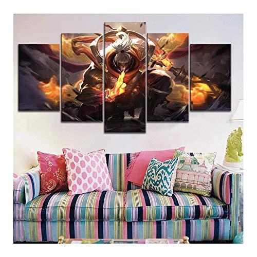 CAISYE Leinwanddrucke Leinwanddruck Bild Wandkunst 5 Stücke Spiel Immortal Journey League Legend Jax Malerei Wohnkultur Modul Poster Wohnzimmer,A,40x60x2+40x80x2+40x100x1