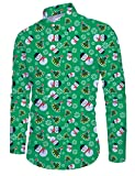 RAISEVERN Men Hellgrünes Weihnachtshemd Lässige Langarm Schneemann Animal Printed Slim Fit Hemden Xmas Tree Top Blusen