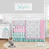 Sweet Jojo Designs Pink, Grey and Teal Damask Baby Girl Nursery Crib Bedding Set - 5 Pieces - Gray Turquoise Blue Polka Dot Skylar