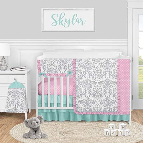 Sweet Jojo Designs Pink, Grey and Teal Damask Baby Girl Nursery Crib Bedding Set - 5 Pieces - Gray Turquoise Blue Polka Dot Skylar