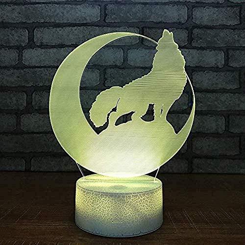 Lava Lampe Wolf Led Nachtlaterne Halloween Geschenk Laterne Bunte 3D-Lampe Weiße Basis Niedliche Kinder Lichter Schlafzimmer Lampe Anime Figur