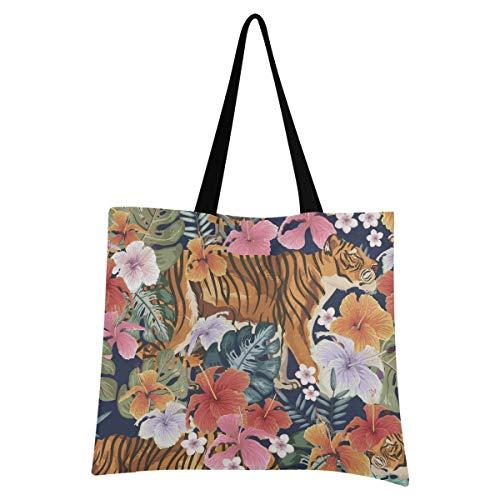 XIXIXIKO - Bolso de lona para mujer, diseño de hojas de palmera tropicales, diseño de tigre, ligero, para playa, viajes, para mujer