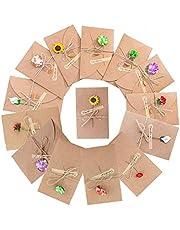 SLOSH 20 Tarjeta Kraft Felicitacion Cumpleaños Bebe Regalo y Sobres Tarjeta Navidad Boda Felicitación Papel (20 pcs)