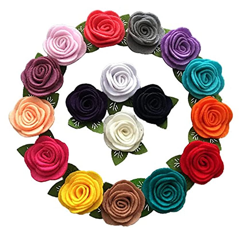 Yazon 32pcs Mini Felt Rose Flower With Leaf Without Clips Baby Girls Hair Flower