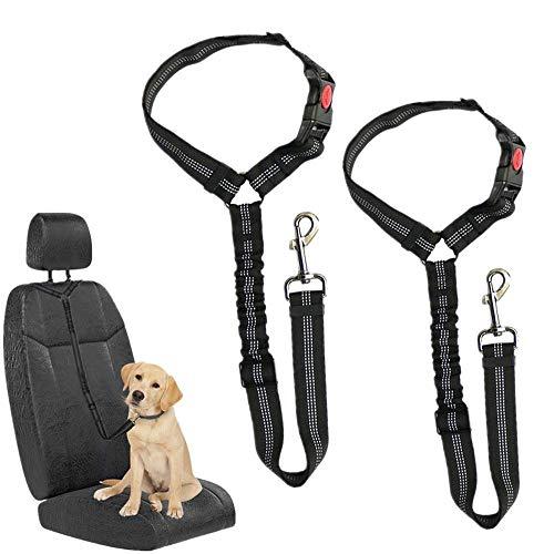 HKBTCH Hunde Sicherheitsgurt, Universal Haustier Hund Katze Auto Sicherheitsgurt, 2 Stück Einstellbar Hundegurt Sicherheitsgeschirr, Hundeanschnallgurt passend für alle Hunderassen & Autotypen