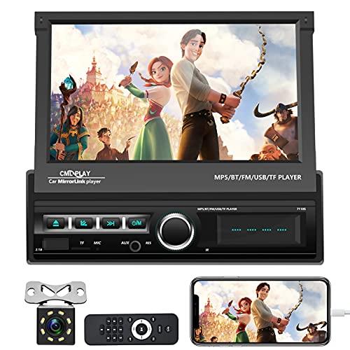Hikity Autoradio 1 Din Con Schermo Stereo Auto Bluetooth 7 Pollici Richiudibile Touch Screen MP5 Player MirrorLink FM Radio con Porta USB SD AUX-in Ingresso Camera Posteriore + Telecomando