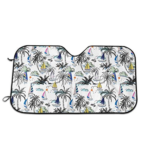 Parabrisas de Coche, Isla para sombrilla con Barco y Windsurf, Bloques de sombrilla para Coche, Rayos UV, Protector de Visera para Mantener el vehículo Fresco