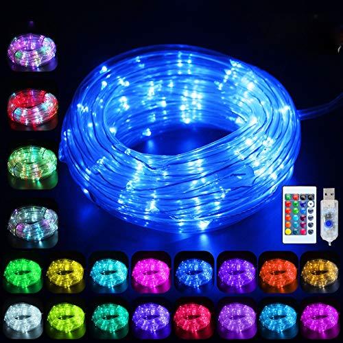 WUJUN LED Schlauch RGB Außen 10M 100 LED mit USB, IP68 Wasserdicht Lichtschlauch 16 Farben 4 Modi mit Fernbedienung & Timer, Bunt Lichterschlauch für Weihnachten Party Balkon Hochzeit Deko