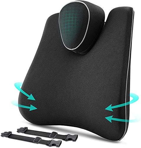 Elifano Cojín lumbar para silla de oficina con memoria de espuma viscoelástica para oficina y sofá