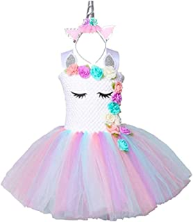 Flower Girl Pastel Unicorn Tutu Dress for Girls 3-4Y