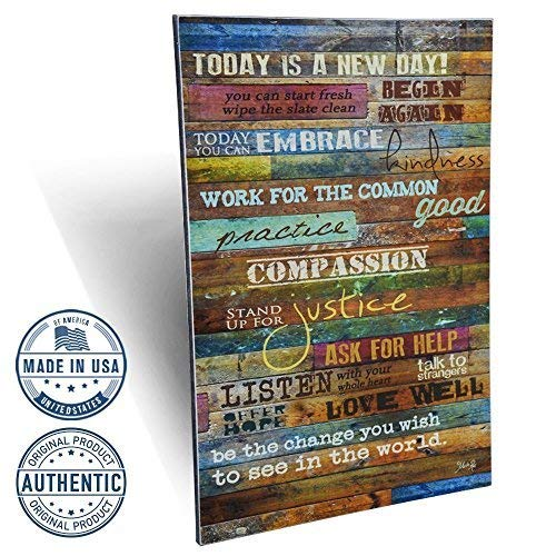 Marla Rae Inspirational Quotes Wall Art - Today is a New Day 12 x 18 (Earth Tones)
