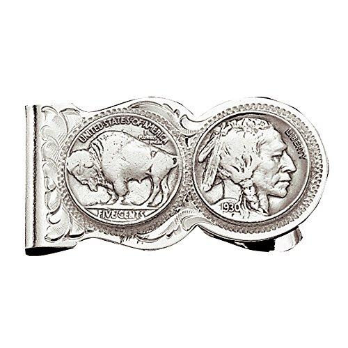 Montana Silversmiths Western Themed Money Clip, Made In USA (Buffalo Nickel - Silver Finish)