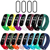 Milomdoi [19 Items] 15 Colors Straps Bracelet + 4pack PET Screen Protector for Xiaomi Mi Band 5, Soft Silicone Replacement Band Adjustable Sport Smart Wristband for Xiaomi Mi Band 5--Colorful
