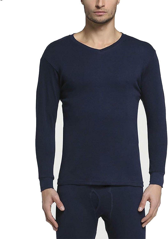 Winter 100% Cotton Round Neck Warm Long Set for Men Ultra Soft Thin Thermal Underwear,V- Navy Blue,M
