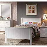 Twin Bed Frame, Harper&Bright Designs Solid Wood White Twin Size Captain Bed with Headboard and Footboard, No Box Spring Needed, Easy Assembly Wooden Bed Support, Ideal for Girls Bedroom, Guest Room