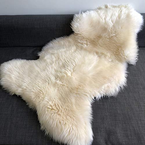 Wildash London - Luxurious Sheepskin Rug - Creamy White, Opulent Fleece XL 110cm -...