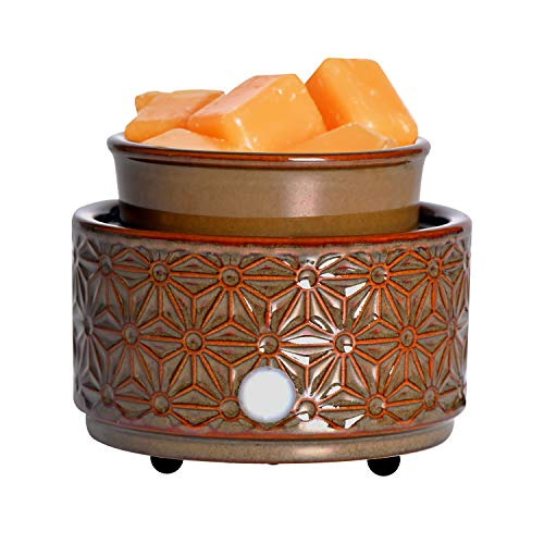 ASAWASA Ceramic Electric Wax Melt Warmer, Candle Waxing Warmer, Use Wax Melts Cubes Essential Oils and Fragrance Oils, Gifts for Aromatherapy Spa Home Office 4.02' x 4.02' x 3.39' (Dark Brown Hexagon)