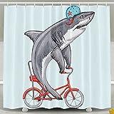BBFhome Shark Ride Fahrrad Badezimmer Duschvorhang Schimmelresistent wasserdicht mit verstellbarem Haken 180 * 180cm