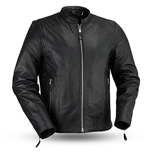 First MFG Co. - Ace - Clean Cafe Style Men's Leather Jacket (Black, Large)