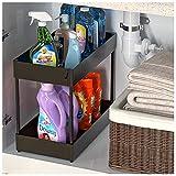 Under Sink Organizer, Under Bathroom Cabinet Storage 2 Tier Under Sink Storage Rack with 6 Hooks, Under Cabinet Organizer Baskets, Multi-purpose Under Sink Shelf Organizer for Bathroom Kitchen (Black)