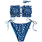ZAFUL Women's Strapless Ribbed Tie Back Ruffle Cutout Bandeau Bikini Set Swimsuit (W-Blue, S)