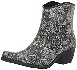 cheap Nomad Wrangler Rain Boots Women's Black / White Paisley Pattern US Medium 9