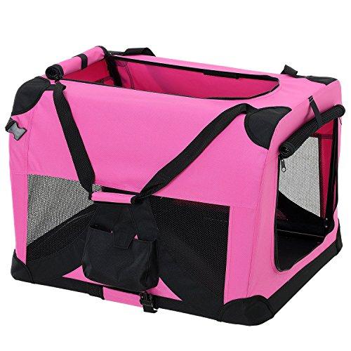 pro.tec] Faltbare Hundetransportbox Gr. L 52 x 52 x 70cm Transportbox Katzenbox Hundebox Pink Pflegeleicht