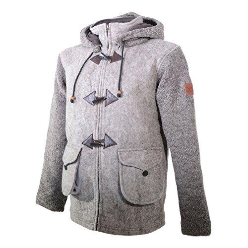 KUNST UND MAGIE Herren Loden Jacke mit gestrickten Ärmeln und Abnehmbarer Kapuze, Größe:XXL, Farbe:Braun