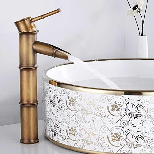 Grifo mezclador de baño antiguo, grifo para fregadero, recipiente alto de bambú, agua fría y caliente, orificio único, cocina de hotel Vintage, latón