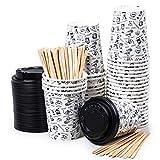 40 Vasos Desechables de Café para Llevar - Vasos Carton 240 ml con Tapas y Agitadores de Madera...