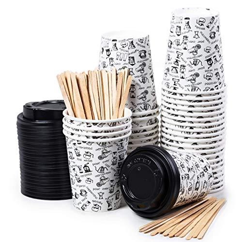 CupCup 40 Pappbecher 240ml mit Deckel und Holz Rührstäbchen - Kaffeebecher to Go Zum Servieren von Kaffee, Tee, heißen und kalten Getränken