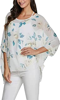 iNewbetter Womens Floral Print Batwing Sleeve Boho Blouse Chiffon Poncho Summer Tunic Tops