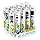 EBL AAA Akku 1100mAh 16 Stück - Typ NI-MH, 1.2V Wiederaufladbare Batterien mit Akkuboxs, Micro AAA...